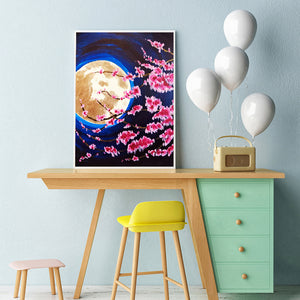 Peach Blossom Under Moon Round Full Drill Diamond Painting 30X40CM(Canvas)