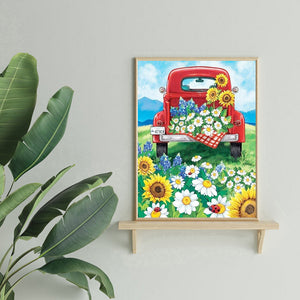 Car and Flower Drawing Round Full Drill Diamond Painting 30X40CM(Canvas)