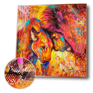 Lion Leopard Oil Round Full Drill Diamond Painting 30X30CM(Canvas)