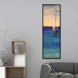 Sailboat Canvas Drawing Round Full Drill Diamond Painting 30X80CM(Canvas)
