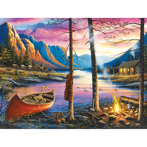 House Campfire by Lake Round Full Drill Diamond Painting 40X30CM(Canvas)