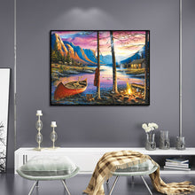 Load image into Gallery viewer, House Campfire by Lake Round Full Drill Diamond Painting 40X30CM(Canvas)
