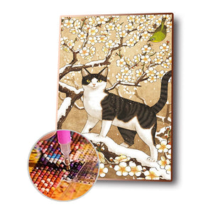 Cat and Flower Round Full Drill Diamond Painting 30X40CM(Canvas)