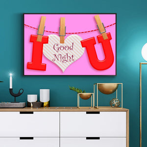 I LOVE U Clip String Round Full Drill Diamond Painting 40X30CM(Canvas)