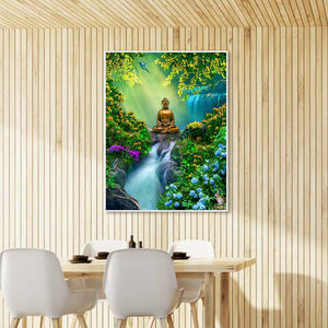 Forest Buddha Round Full Drill Diamond Painting 30X40CM(Canvas)
