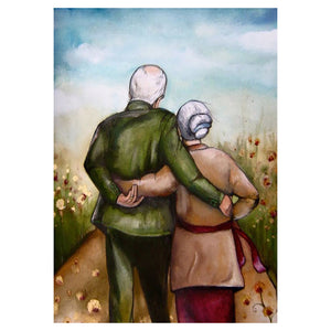 The Back Grandparents Round Full Drill Diamond Painting 30X40CM(Canvas)