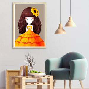 Cartoon Girl Round Full Drill Diamond Painting 30X40CM(Canvas)