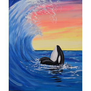 Sea Waves Dolphin Round Full Drill Diamond Painting 30X40CM(Canvas)