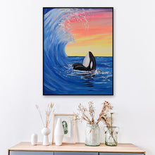 Load image into Gallery viewer, Sea Waves Dolphin Round Full Drill Diamond Painting 30X40CM(Canvas)