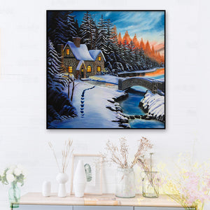 Snow House Round Full Drill Diamond Painting 30X30CM(Canvas)