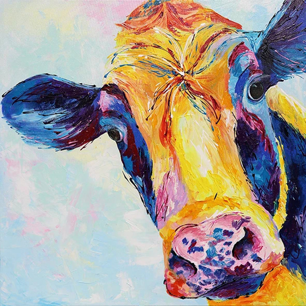 Cow Round Full Drill Diamond Painting 30X30CM(Canvas)