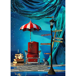 Umbrella House Sofa Round Full Drill Diamond Painting 30X40CM(Canvas)