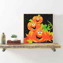 Load image into Gallery viewer, Pumpkin Halloween Round Full Drill Diamond Painting 30X30CM(Canvas)