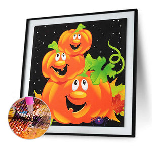 Pumpkin Halloween Round Full Drill Diamond Painting 30X30CM(Canvas)