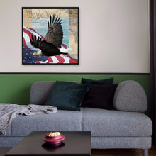Load image into Gallery viewer, Eagle Flag Round Full Drill Diamond Painting 30X30CM(Canvas)