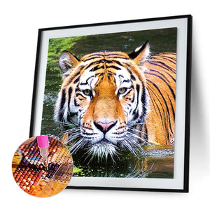 Tiger Round Full Drill Diamond Painting 30X30CM(Canvas)