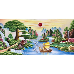 Tree Sailboat Round Full Drill Diamond Painting 100X50CM(Canvas)