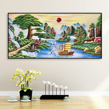 Load image into Gallery viewer, Tree Sailboat Round Full Drill Diamond Painting 100X50CM(Canvas)