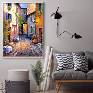 Street Handwork Round Full Drill Diamond Painting 30X40CM(Canvas)