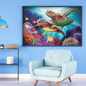 Undersea Turtles Round Full Drill Diamond Painting 40X30CM(Canvas)