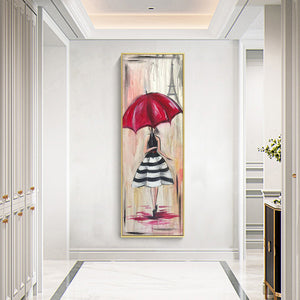 Girl with Umbrella Round Full Drill Diamond Painting 30X80CM(Canvas)