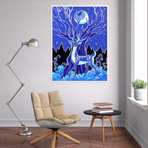 Blue Deer Animals Round Full Drill Diamond Painting 30X40CM(Canvas)