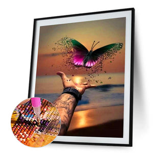 Sea Butterfly Round Full Drill Diamond Painting 30X40CM(Canvas)