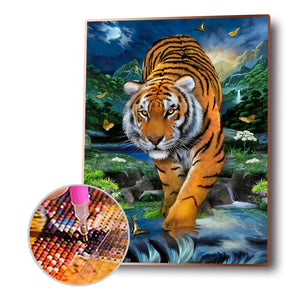 Butterfly Tiger Drawing Round Full Drill Diamond Painting 30X40CM(Canvas)