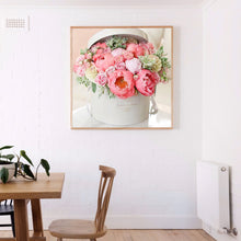 Load image into Gallery viewer, Pink Flowers Round Full Drill Diamond Painting 30X30CM(Canvas)