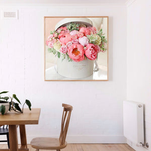 Pink Flowers Round Full Drill Diamond Painting 30X30CM(Canvas)