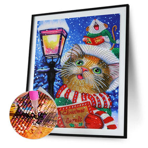 Cute Cat Drawing Special Part Drill Diamond Painting 30X40CM(Canvas)