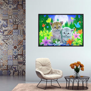 Cat in Flowers full round drill Diamond Painting 40*30CM(Canvas)