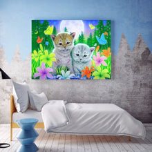 Load image into Gallery viewer, Cat in Flowers full round drill Diamond Painting 40*30CM(Canvas)