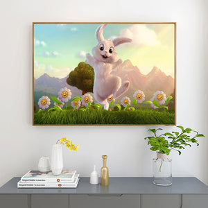 Rabbit in Lawn full round drill Diamond Painting 40*30CM(Canvas)