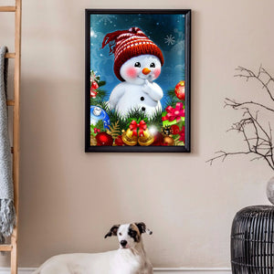 Red Cheeks Snowman full round drill Diamond Painting 30*40CM(Canvas)