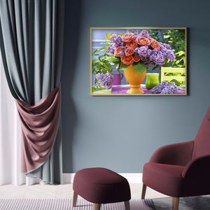 Flower Vase 40x30CM(Canvas) full round drill diamond painting