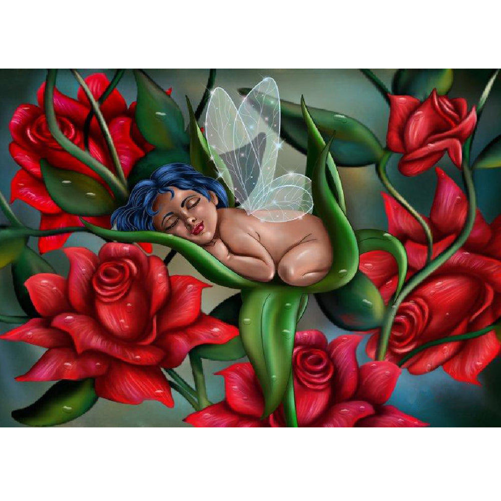 Baby Sleeping in Rose 40x30CM(Canvas) full round drill diamond painting