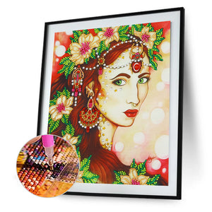 Beauty 30x40CM(Canvas) partial special shaped drill diamond painting
