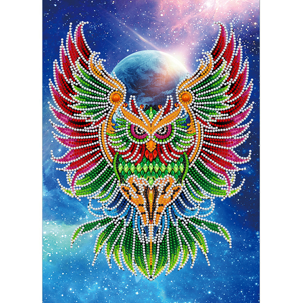 Luminous Owl 30x40CM(Canvas) partial special shaped drill diamond painting
