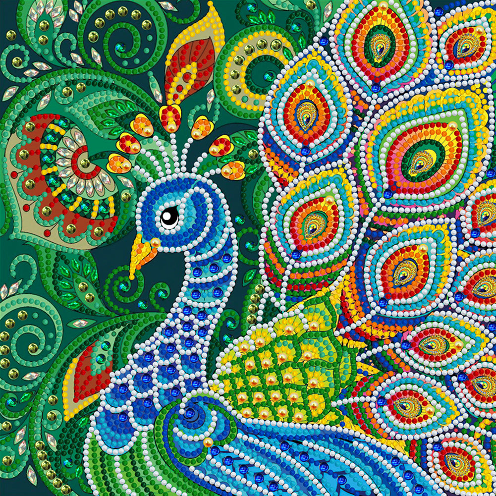 Luminous Peafowl 30x30CM(Canvas) partial special shaped drill diamond painting