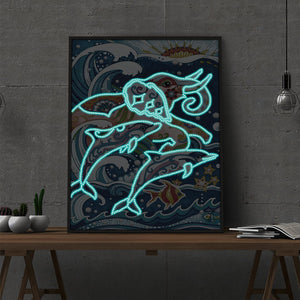 Elephant Luminous 30x40CM(Canvas) partial special shaped drill diamond painting