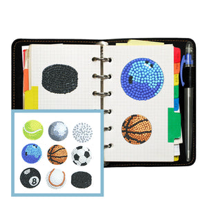 9pcs Stickers DIY Round Drill Diamond Painting Sports Ball Rhinestone Kit