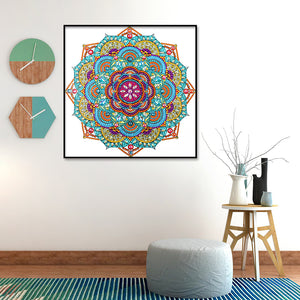 Color Mandala 30X30CM(Canvas) Partial Special Shaped Drill Diamond Painting