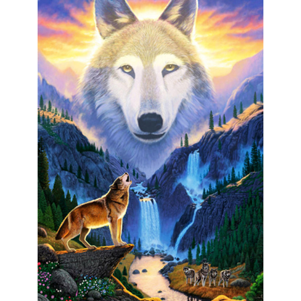 Wolf 30X40CM(Canvas) Full Round Drill Diamond Painting