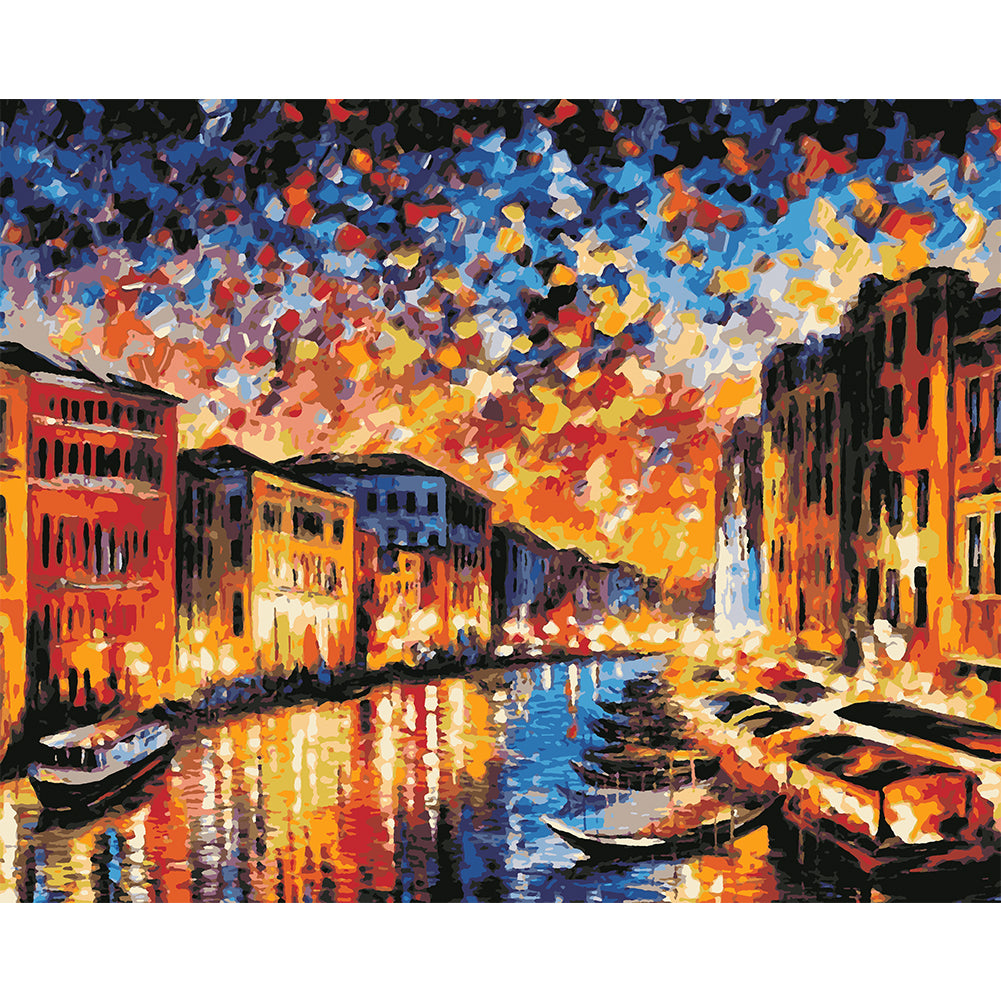 Sunset Street View 40x30CM(Canvas) full round drill diamond painting