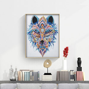 Wolf Head 30x40CM(Canvas) partial special shaped drill diamond painting