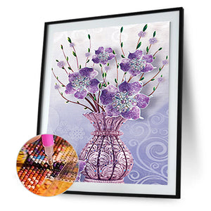 Flowers Vase 30x40CM(Canvas) partial special shaped drill diamond painting