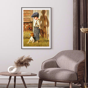 Little Boy And Dog 30X40CM(Canvas) Full Round Drill Diamond Painting