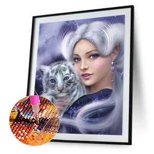 Beauty Tiger Manual 30x40CM(Canvas) full round drill diamond painting