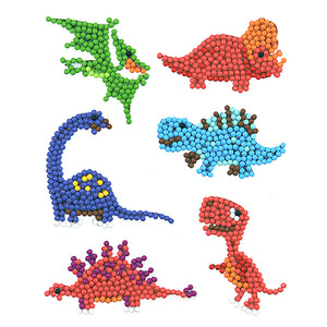 6pcs Dinosaur World Round Sticker Diamond Painting DIY Phone Decor Paster